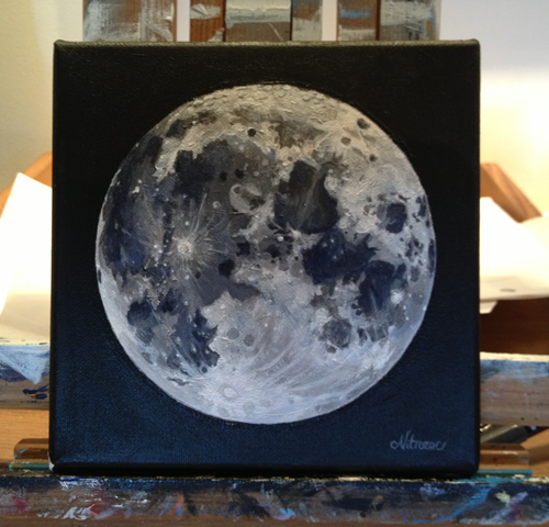 Nitrozac Paintings: Full Moon, A Painting By Nitrozac *SOLD!*
