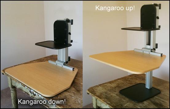 adjustable height stand up desk and monitor holder Ergodesktop's Kangeroo, an adjustable stand up desk. adjustable height stand up desk and monitor holder