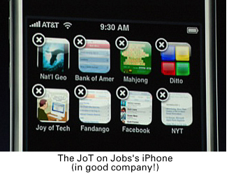 JoT on Jobs's iPhone! (photo courtesy of Engadget)